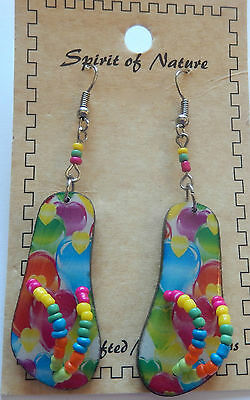 Earring Spirit of Nature flip flops-hearts-blue pink green purple yellow -beads