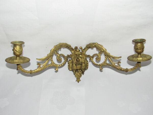 04f5 Antica Applique Candelabro Piano Bronzo Dorata Disegni Luigi Xvi Fine Xix E