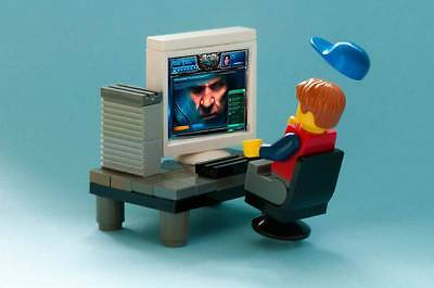 Old Photo. Toy Lego Minifig Computer Gamer - Star Craft 2