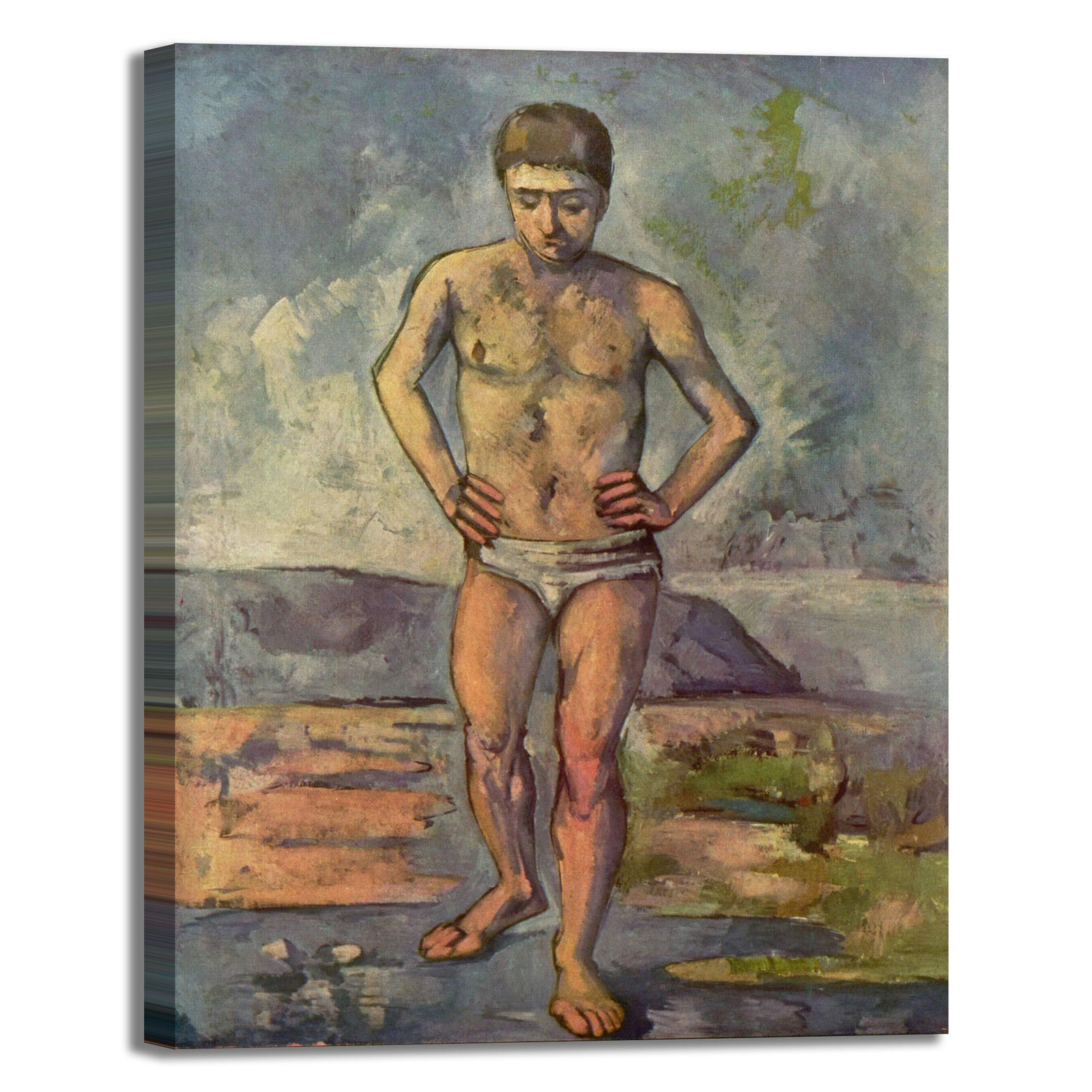 Cezanne bagnanti 4 design quadro stampa tela dipinto con telaio arrossoo casa