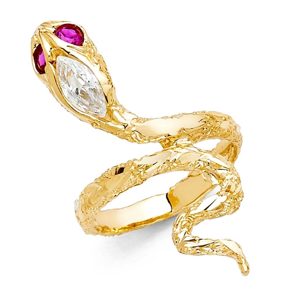 Grande Anello Serpente 14k Giallo Bianco Bianco Bianco Fede D'oro Curvo Rosso Zirconia Cubica 02897a