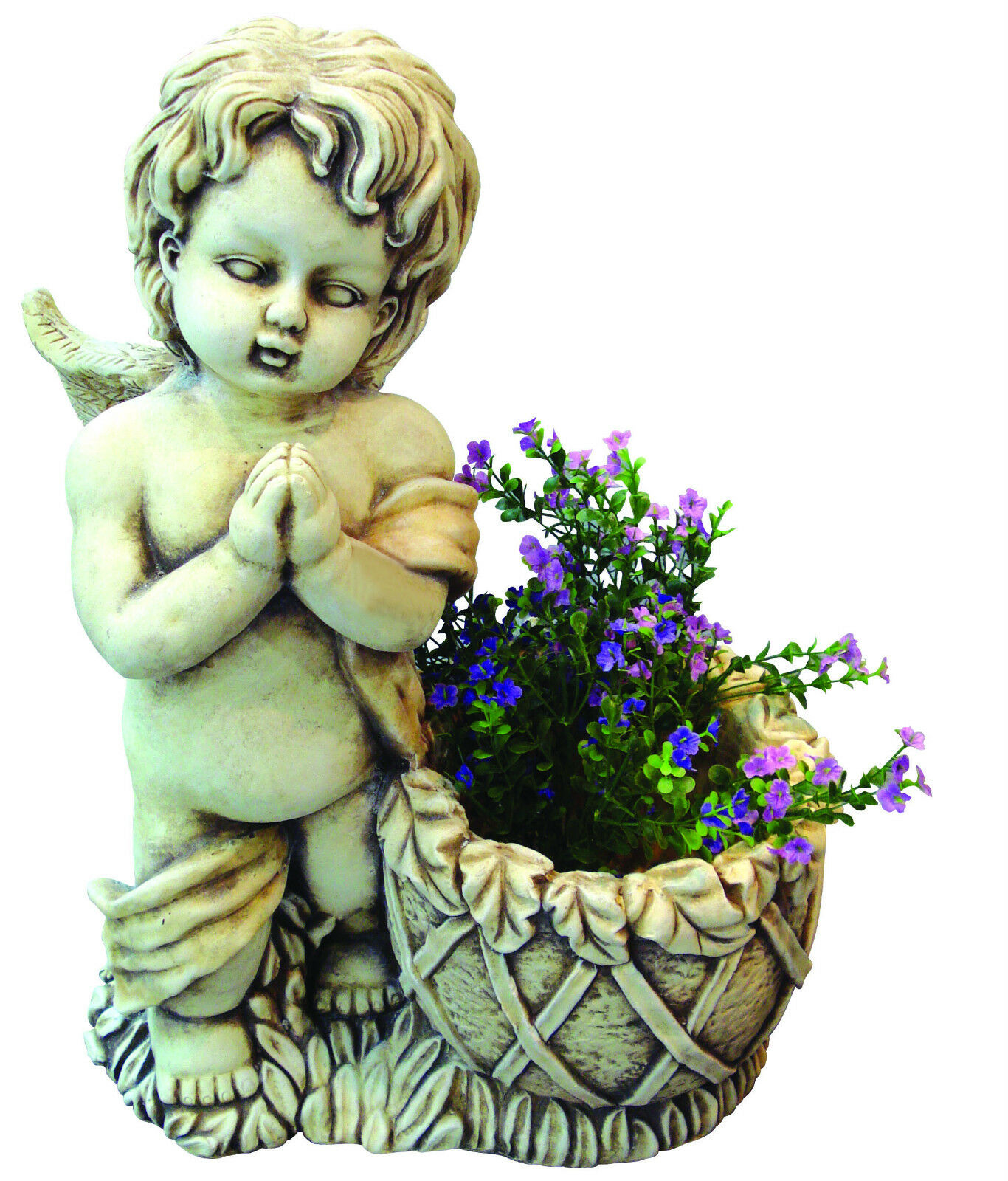 STATUA ANGELO - PUTTO CUSTODE CUSTODE CUSTODE con vaso f0031f