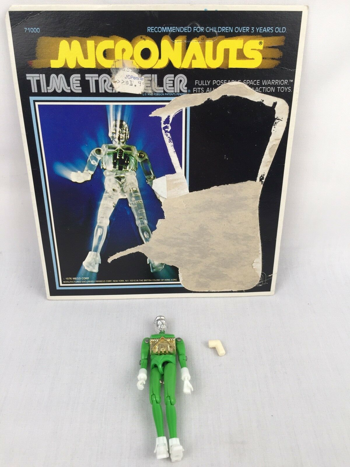 Micronauts Mego Opaque Green Time Traveler - RARE - L Peg Connector - Vintage