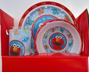Image is loading Sesame-Street-DINNER-ELMO-LUNCH-FEEDING-SET-MEALS- & Sesame Street - DINNER ELMO LUNCH FEEDING SET MEALS Plate Bowl Cup ...