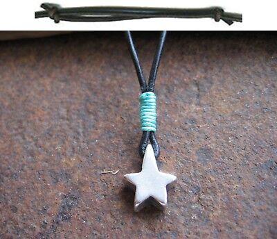 GemäßIgt Stern Anhänger Halskette Schwarz Leder Kette Herren Damen Neu Blau Braun Star