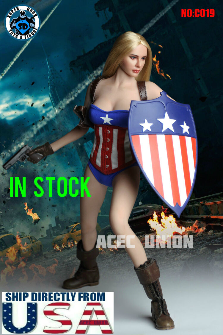 1 6 Miss Captain America Clothing Shield Set For 12  Phicen Hot Toys Figure USA