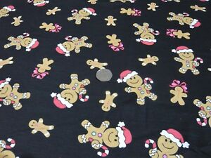 COTTON-JERSEY-XMAS-GINGERBREAD-MEN-BLAC-RED-CAMEL-DRESS-FABRIC-FREE-P-amp-P-UK-ONLY