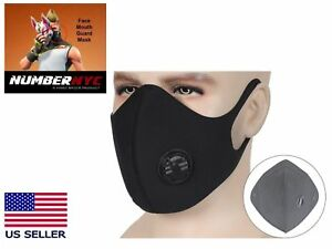 Dark Grey Black Face Dust Mask Carbon Filter Vent Parkour Fortnite
