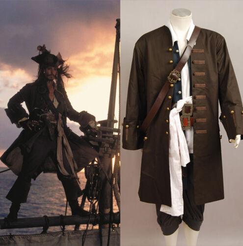 Pirates Of The Caribbean Jack Sparrow Cosplay Halloween Costume Outfit Uniform