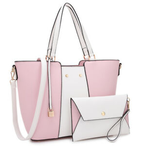 Image is loading Dasein-Women-Handbags-Faux-Leather-Tote-Bags-Shoulder- e457c9baf0