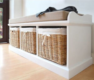 Image Is Loading White Shoe Storage Bench Hall Cushion Cabinet Wooden