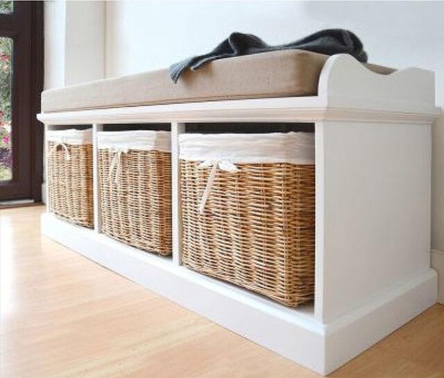 White Shoe Storage Bench Hall Cushion Cabinet Wooden Hallway Seat Wicker  Baskets
