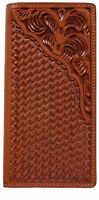 3d Belt Western Mens Wallet Leather Rodeo Basketweave Floral Brown Aw13