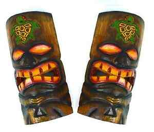 "Set of 2 Polynesian Hawaiian Tiki Style Wall Masks Island Tropical Tribal 9.5"""