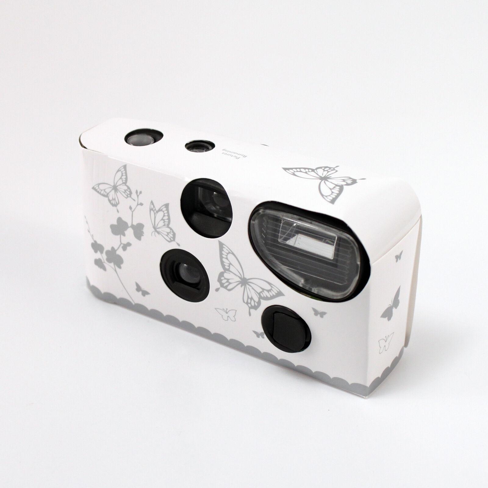 Einwegkamera mit Blitz Weiß und Silber Schmetterling 1,2, 5,8 And 10 Packungen