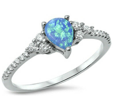 Sterling Silver 925 HALF ETERNITY WHITE LAB OPAL CLEAR CZ RINGS 2MM SIZES 5-10