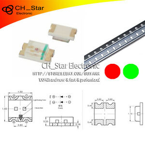 100pcs-SMD-0603-SMT-1608-Bicolor-Bi-color-Rojo-amp-Verde-Luz-Led-Diodos