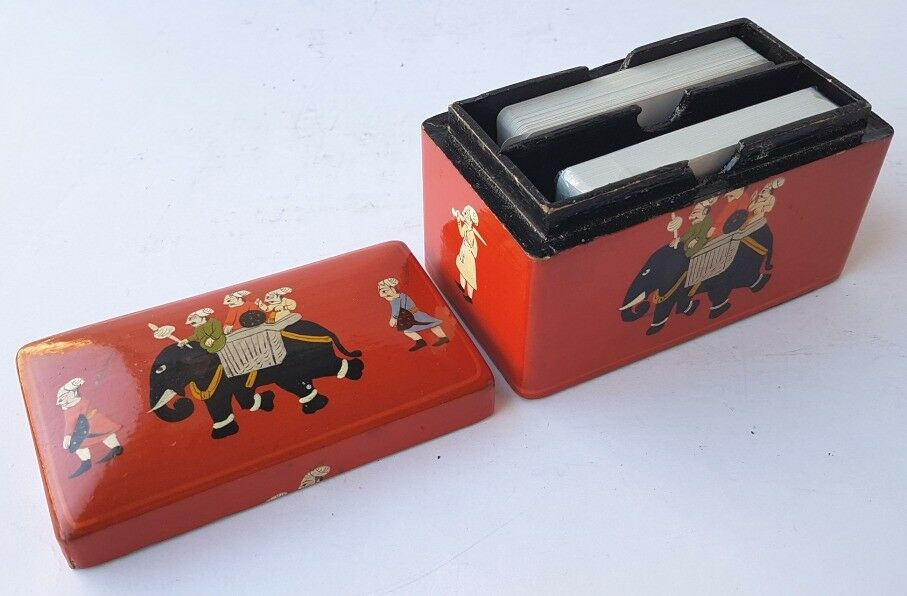 Un fou de Noël Jeu remporte une grande concurrence Jeu Noël de Cartes-Coffret/Boîte, Bois, Perse, pour 1930 al990 89de20