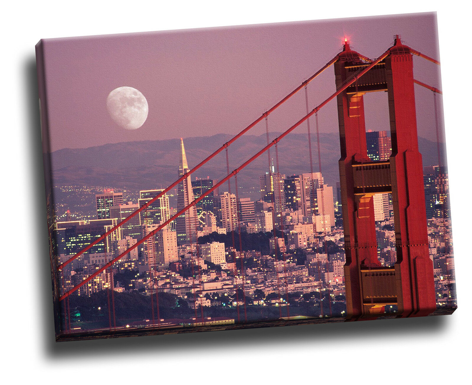 MOON OVER San Francisco Cityscape Giclee FOTO SU TELA ART