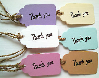 50 Vintage Style Tags 'Thank You'  Wedding Favours, Gift Boxes, Cupcake Boxes