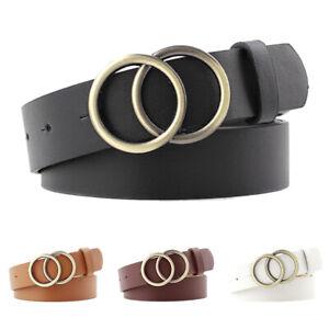Women-Faux-Leather-Belt-Double-Ring-Buckle-Belt-Waist-Waistband-Belts-New-TRFR