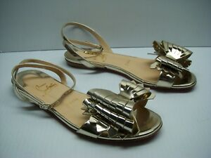 premium selection a0f6a d80ff Details about CHRISTIAN LOUBOUTIN Miss Valois Strap Bow Ankle Flat Shoes  Size 36 $695