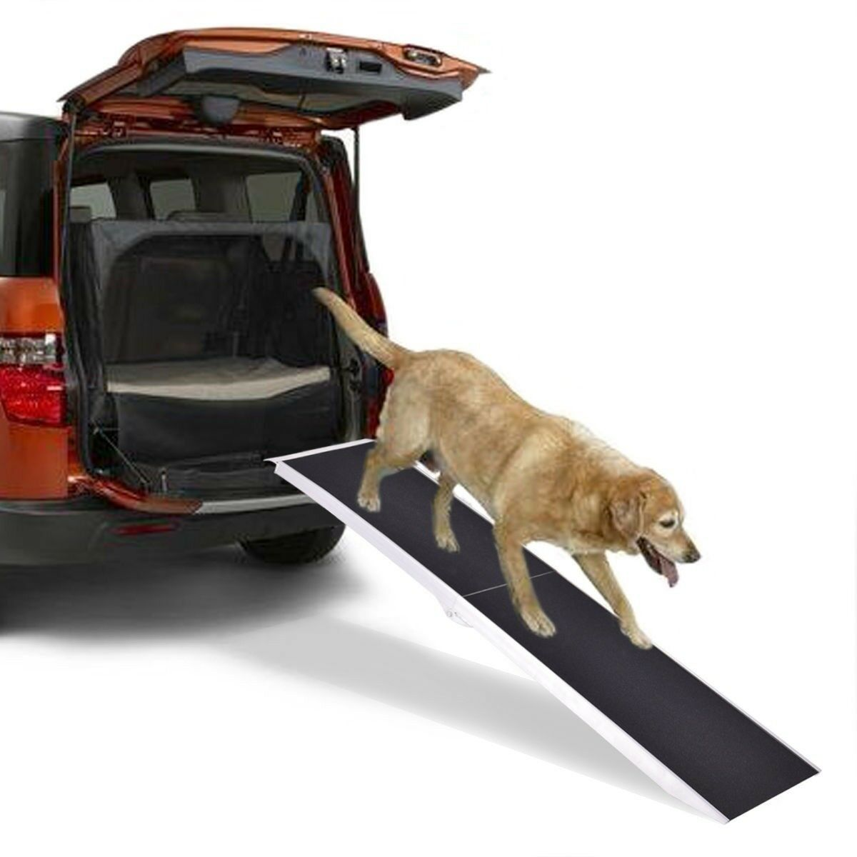 7Ft Portable SUV Truck Car Folding Dog Pet Ramp Ladder Step Lightweight Aluminum