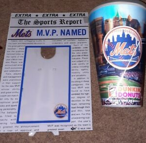 New York Mets Lot - Picture Frame & Dunkin Donuts Cup with Lid