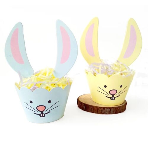 12x Easter Bunny Cupcake Toppers Party Supplies Lolly Bag Rabbit Wrappers