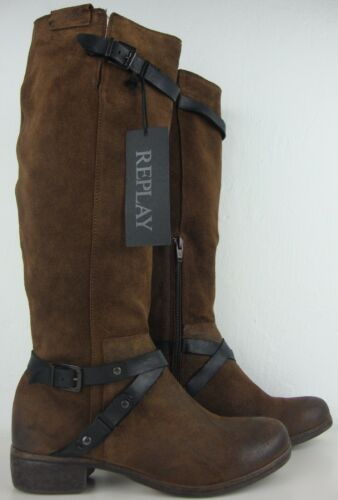 Damen Boots 37 Mit Replay Gr Braun Hochschaftstiefel Etikett Neu Leder Stiefel dgdq7t