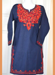 Red-Embroidered-Navy-Blue-Color-Long-Cotton-Tunic-Top-Kurti-from-India