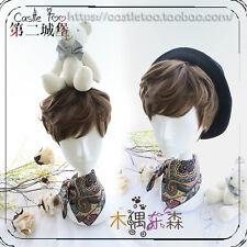 Japanese Harajuku Vintage Lolita Brown Mixed Gothic Men Cosplay Daily Short Wig