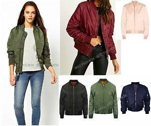 100% Calidad mejores zapatillas de deporte patrones de moda Details about Womens ladies PREMIUM ma1 BOMBER JACKET Classic Military  biker jacket Coat lot Q