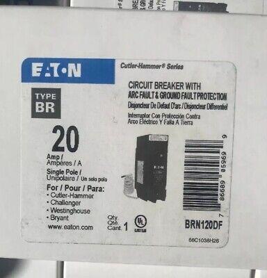 1  x New BRN120DF Eaton 20-Amp 1-Pole Dual Function AFCI//GFCI Circuit Breaker ==