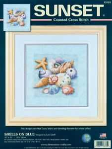 Dimensions-Needlecrafts-Counted-Cross-Stitch-Shells-On-Blue