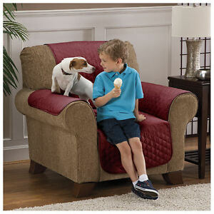Image is loading Pet-Chair-Cover-Protector-Waterproof-Seat-Furniture-Slip- & Pet Chair Cover Protector Waterproof Seat Furniture Slip Burgundy ...