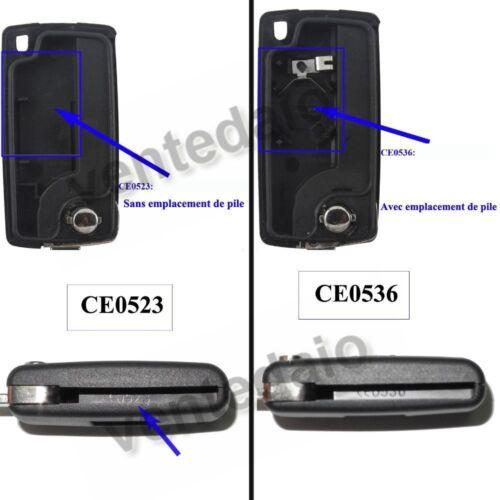 Coque clé plip clef télécommande pour Citroën C2 C3 C1 BERLINGO C3PLURIEL CE0536