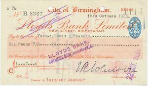 ALTE-SCHECKS-1935-CITY-of-BIRMINGHAM-Lloyds-Bank-Ltd-New-Street-BIRMINGHAM