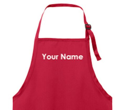 Custom Embroidered Apron Personalized Chef Apron Red FREE name