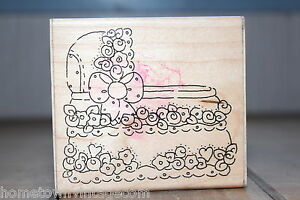 It-039-s-a-Girl-Bassinet-6021-Baby-JRL-Design-USA-Wood-amp-Foam-Rubber-Stamp