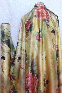 100% Charmeuse Silk Fabric Flower on Gold M50 2.5 Yards