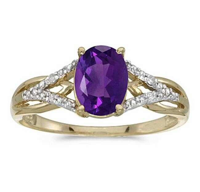 1.20CT Oval Genuine Amethyst and Diamond Ring 10K Yellow gold