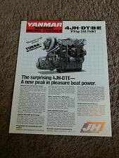Yanmar Marine Diesel Engine 4JH-DTE 4JH-DTBE Dealer Sales Brochure Specification