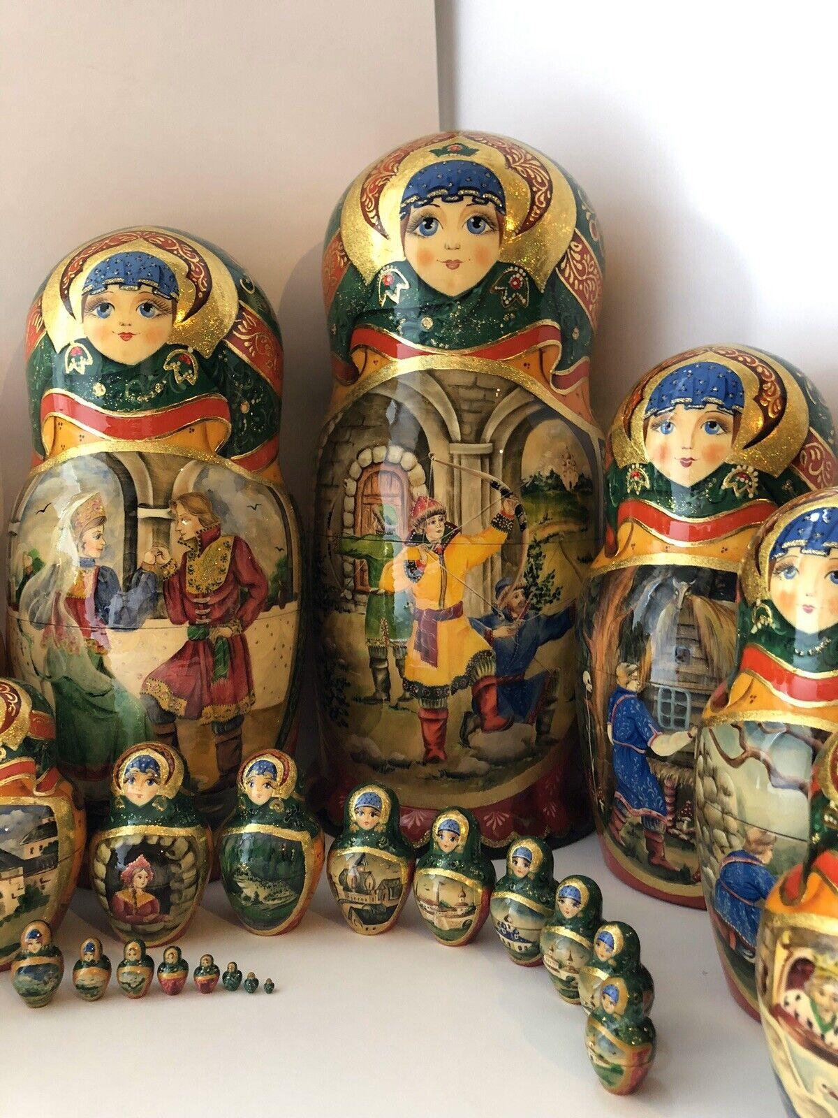 Russian nesting dolls, Matryoshka, 25-pieces set, fairytale, handmade