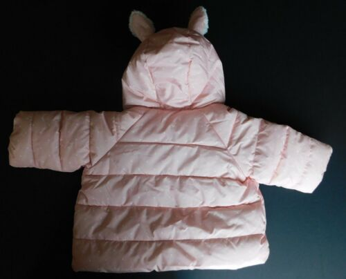 NWT Gap Baby Girl/'s Bunny Puffer Jacket Coat Pink Outerwear 0-6 Month NEW