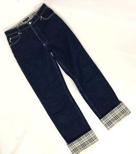 8cd59322f2f1 Burberry London Sz 6 Straight Leg Nova Check Cuff Blue Jeans Denim ...