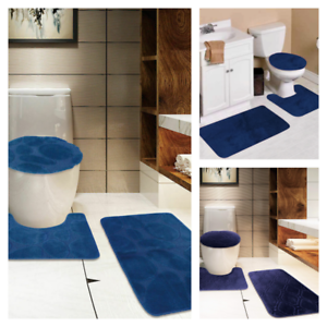 Navy Blue Bathroom Set 1 Mat Countour