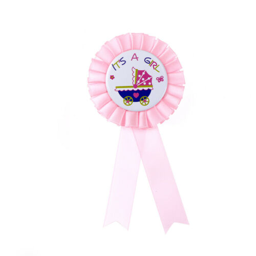 It's a Girl//Boy Baby Shower Award Ribbon Rosette Badge Brooch Party Supplies UK