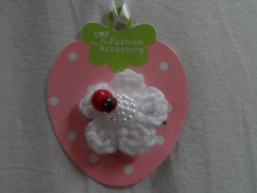 Bambino/Ragazze Per Capelli Clip Snap Clip Coccodrillo Clip famiglia diapositive, fiori bianchi, Coccinella