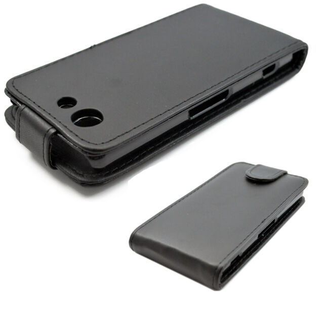 on sale aad10 43da0 Cool Full Black Leather Phone Cover Case Flip for Sony Xperia Z3 Mini  Compact